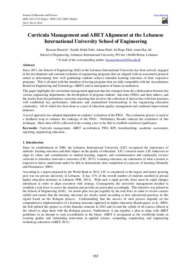 Journal of Education and Practice www.iiste.org ISSN 2222-1735 (Paper) ISSN 2222-288X (Online) Vol.5, No.22, 2014 163 Curr...