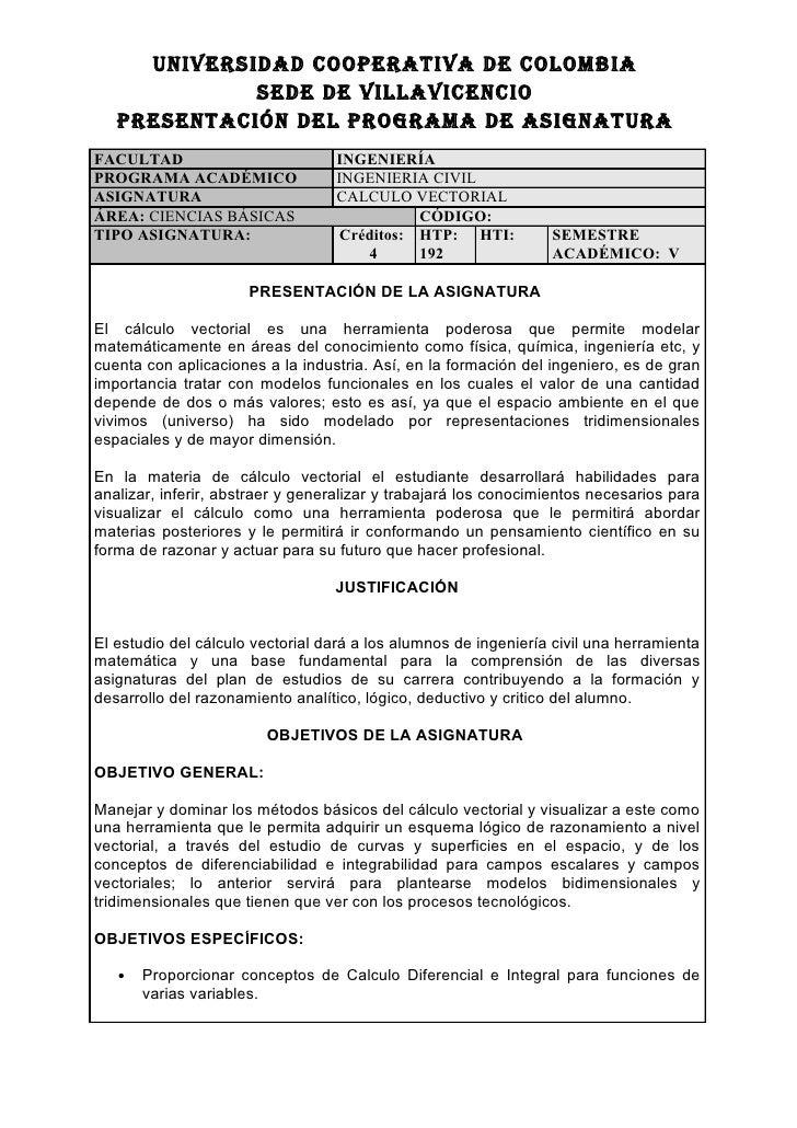 UNIVERSIDAD COOPERATIVA DE COLOMBIA              SEDE DE VILLAVICENCIO    PRESENTACIÓN DEL PROGRAMA DE ASIGNATURA FACULTAD...