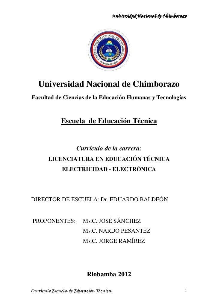 Curriculo De Electricidad Electr 243 Nica 2012 2