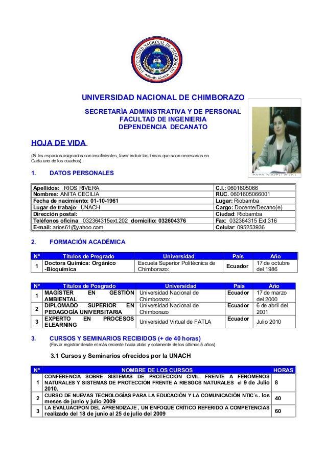 UNIVERSIDAD NACIONAL DE CHIMBORAZO SECRETARÍA ADMINISTRATIVA Y DE PERSONAL FACULTAD DE INGENIERIA DEPENDENCIA DECANATO HOJ...