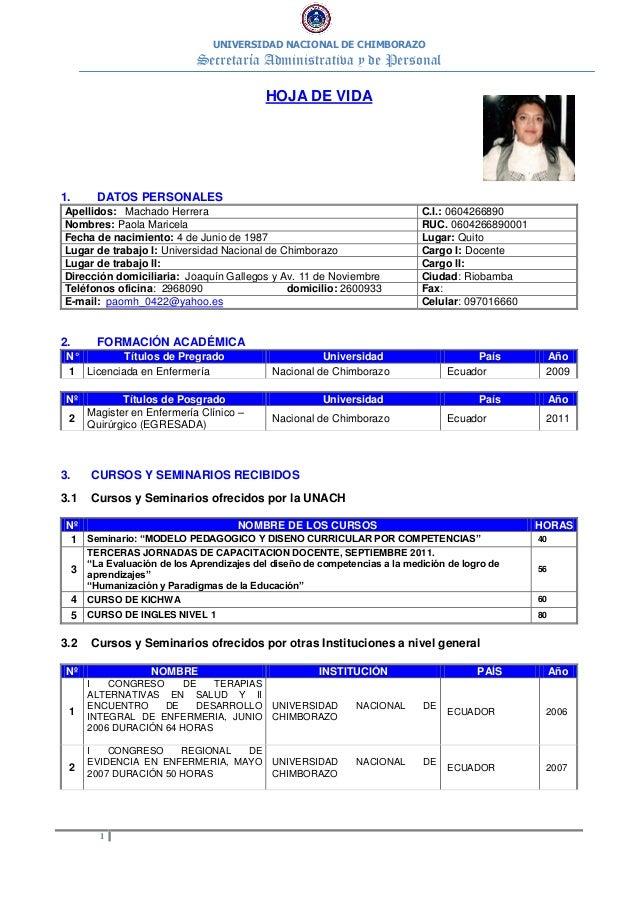 UNIVERSIDAD NACIONAL DE CHIMBORAZO Secretaría Administrativa y de Personal 1 HOJA DE VIDA 1. DATOS PERSONALES Apellidos: M...