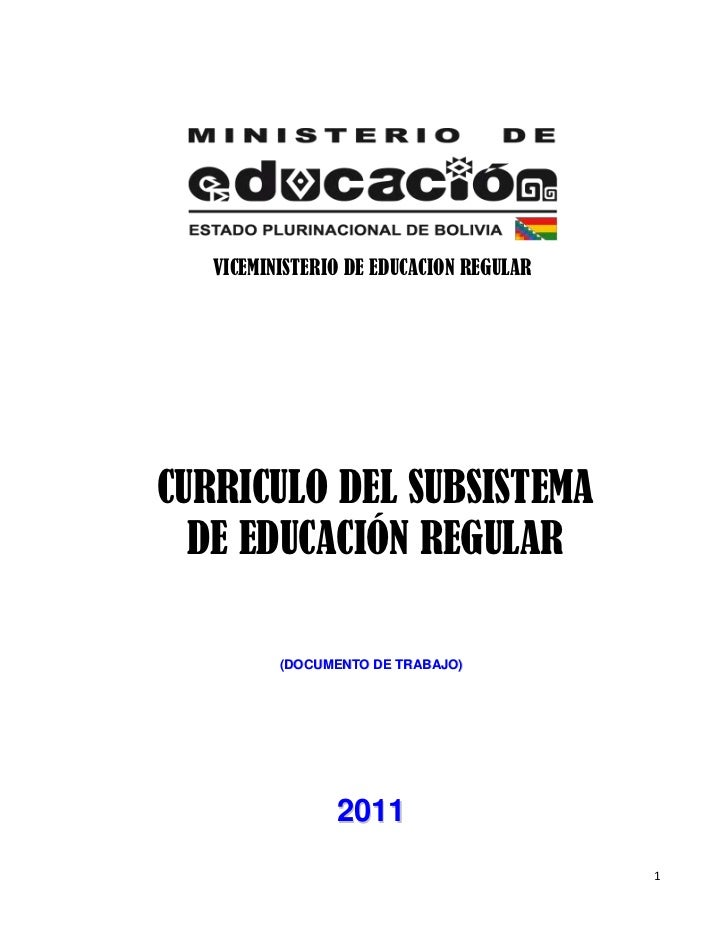 VICEMINISTERIO DE EDUCACION REGULARCURRICULO DEL SUBSISTEMA  DE EDUCACIÓN REGULAR          (DOCUMENTO DE TRABAJO)         ...