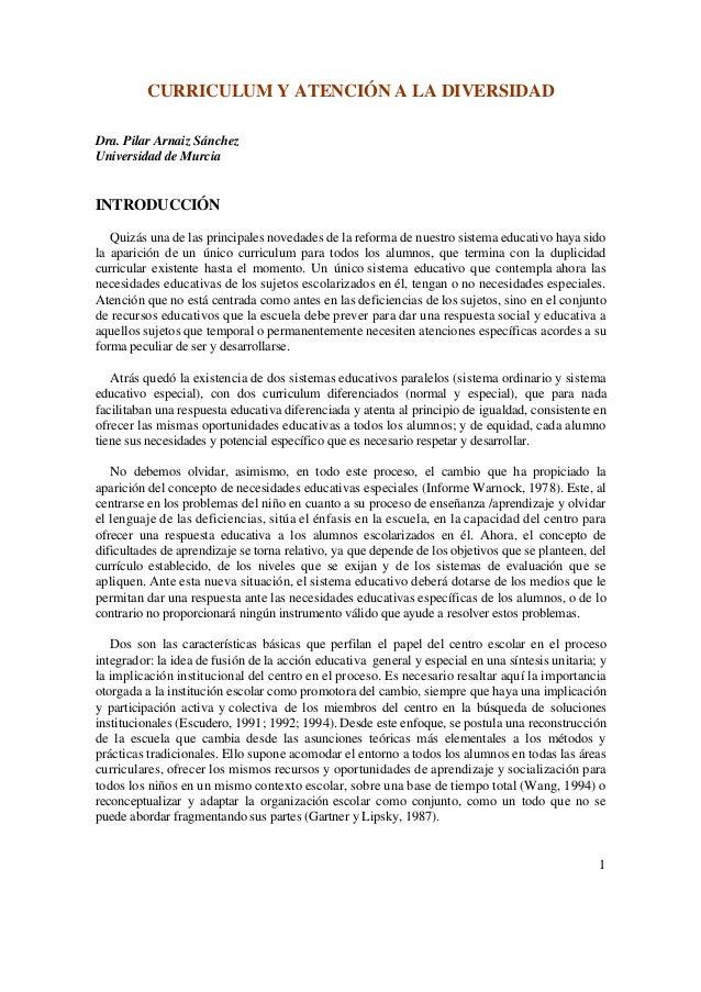 CURRICULUM Y ATENCIÓN A LA DIVERSIDAD Dra. Pilar Arnaiz Sánchez Universidad de Murcia  INTRODUCCIÓN Quizás una de las prin...