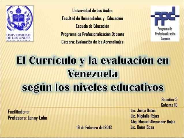 Curriculo y evaluacion segun los niveles educativos