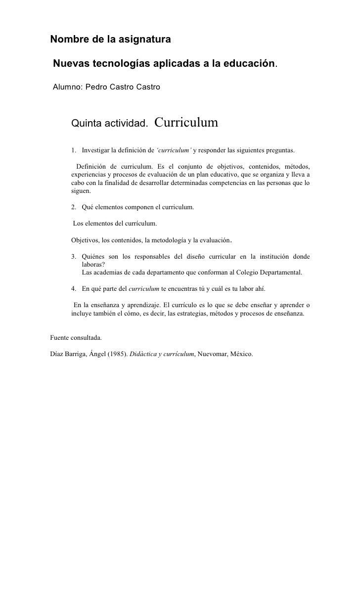 Curriculum, Pedro Castro