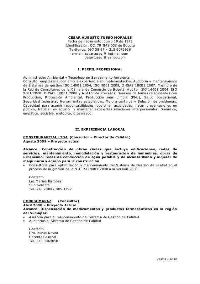 Página 1 de 10 CESAR AUGUSTO TUSSO MORALES Fecha de nacimiento: Junio 19 de 1975 Identificación: CC. 79´848.038 de Bogotá ...