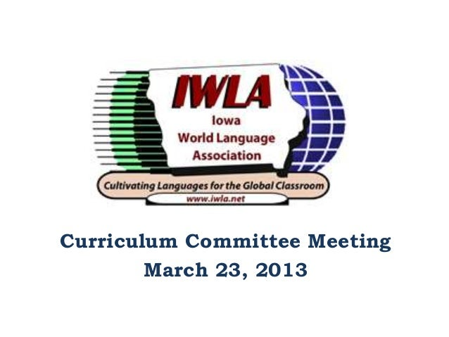 Curriculum committee meeting 1 march 23rd