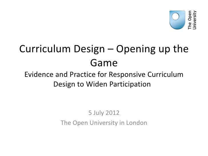 Curriculum design – Opening up the Game