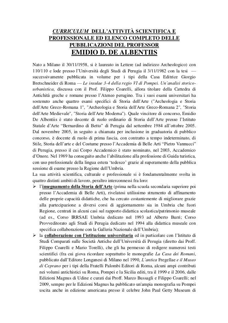 CURRICULUM DELL'ATTIVITÀ SCIENTIFICA E         PROFESSIONALE ED ELENCO COMPLETO DELLE               PUBBLICAZIONI DEL PROF...