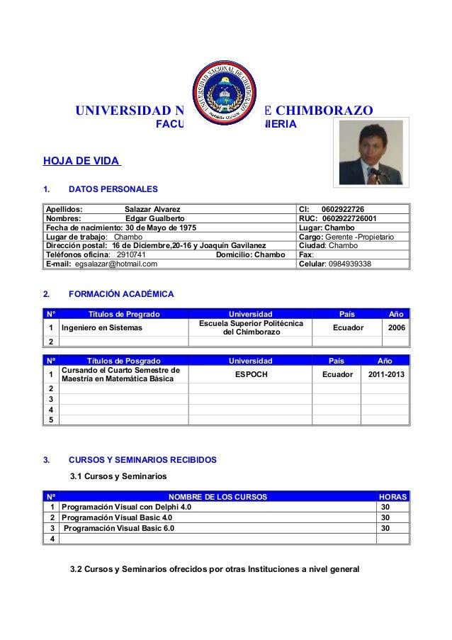 UNIVERSIDAD NACIONAL DE CHIMBORAZO FACULTAD DE INGENIERIA HOJA DE VIDA 1. DATOS PERSONALES Apellidos: Salazar Alvarez CI: ...