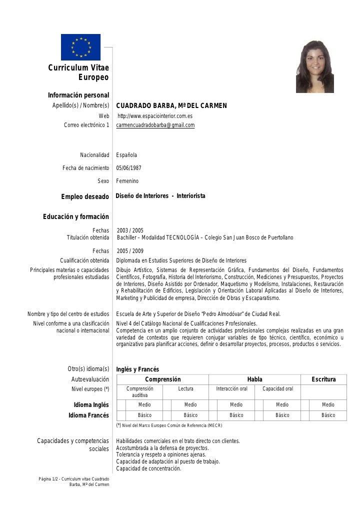 Currculum Vitae Espaol New Calendar Template Site