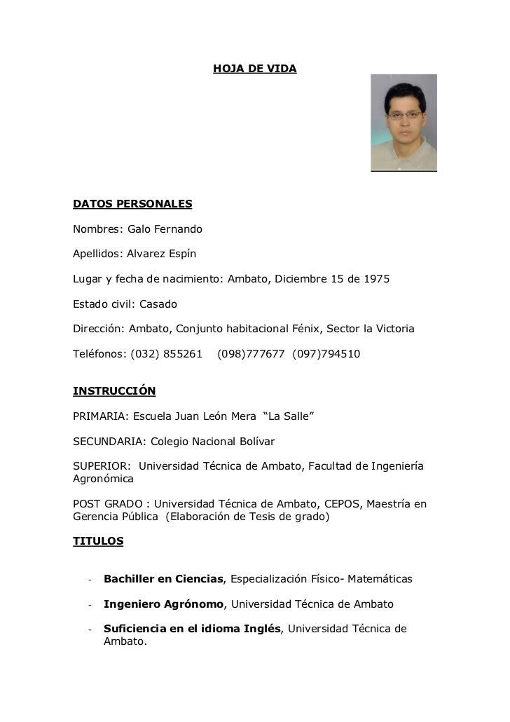 Curriculum Galo Alvarez