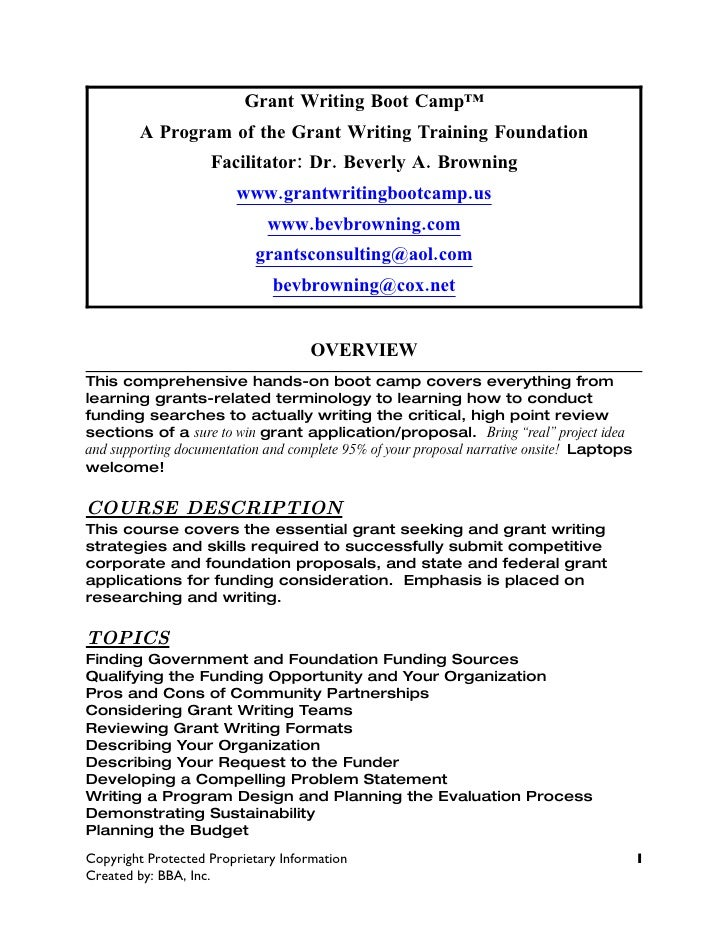 Curriculum Guide For Grant Writing Boot Camp 2009