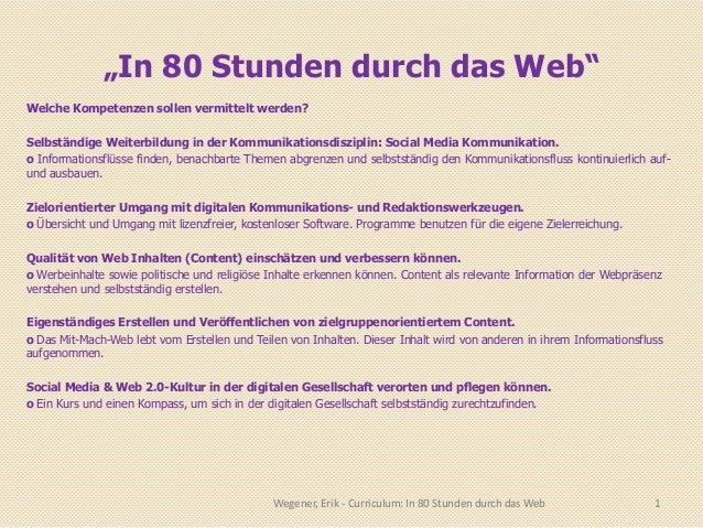 """""""In 80 Stunden durch das Web""""Welche Kompetenzen sollen vermittelt werden?Selbständige Weiterbildung in der Kommunikationsd..."""