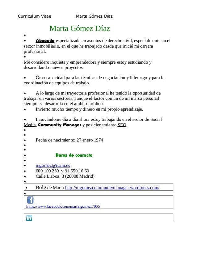 Curriculum Marta Gómez Díaz- enero 2014