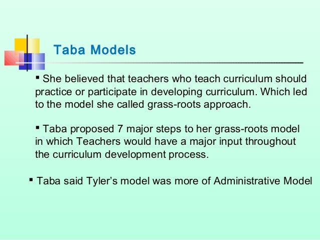 5 types of curriculum Five models of curriculum development are presented in this report educators must not confine only to just one model but be receptive to other types of models.