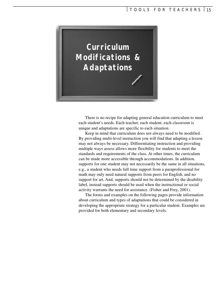 TOOLS FOR TEACHERS                              15  CurriculumModifications & Adaptations    There is no recipe for adapti...