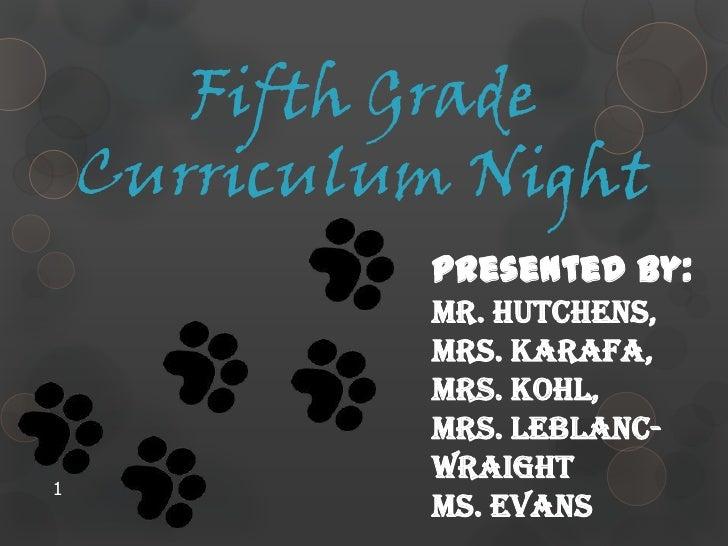 5th Grade Curriculum Night 2011-12