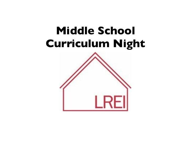 Middle SchoolCurriculum Night