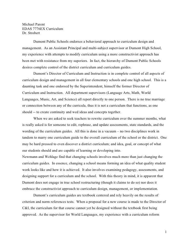 Michael Parent EDAS 7776EX Curriculum Dr. Strobert         Dumont Public Schools endorses a behavioral approach to curricu...