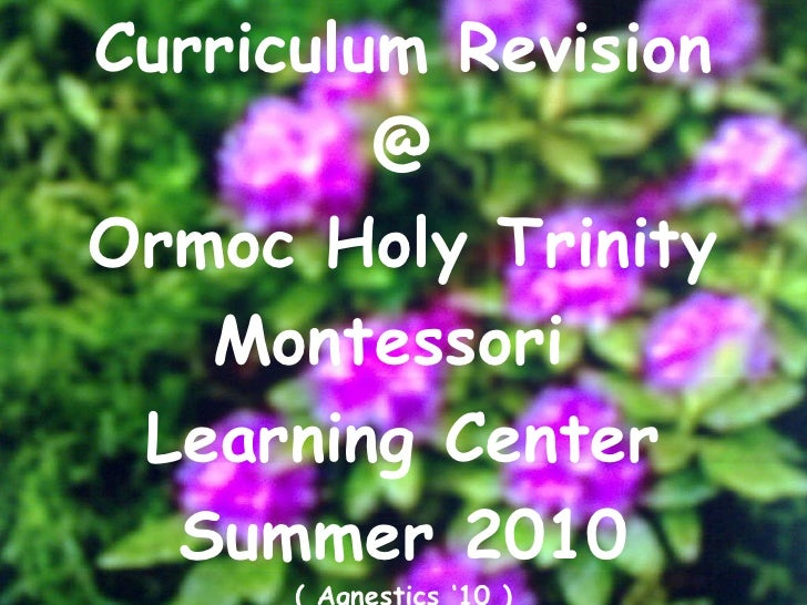 Curriculum Revision @ Ormoc Holy Trinity Montessori  Learning Center Summer 2010 ( Agnestics '10 )