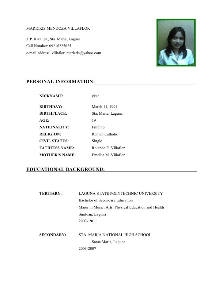 Student Resume Sample Filipino images