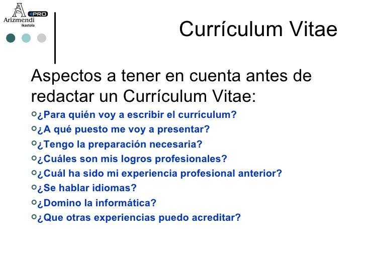 Como redactar mi perfil en un curriculum vitae / essay writing skills