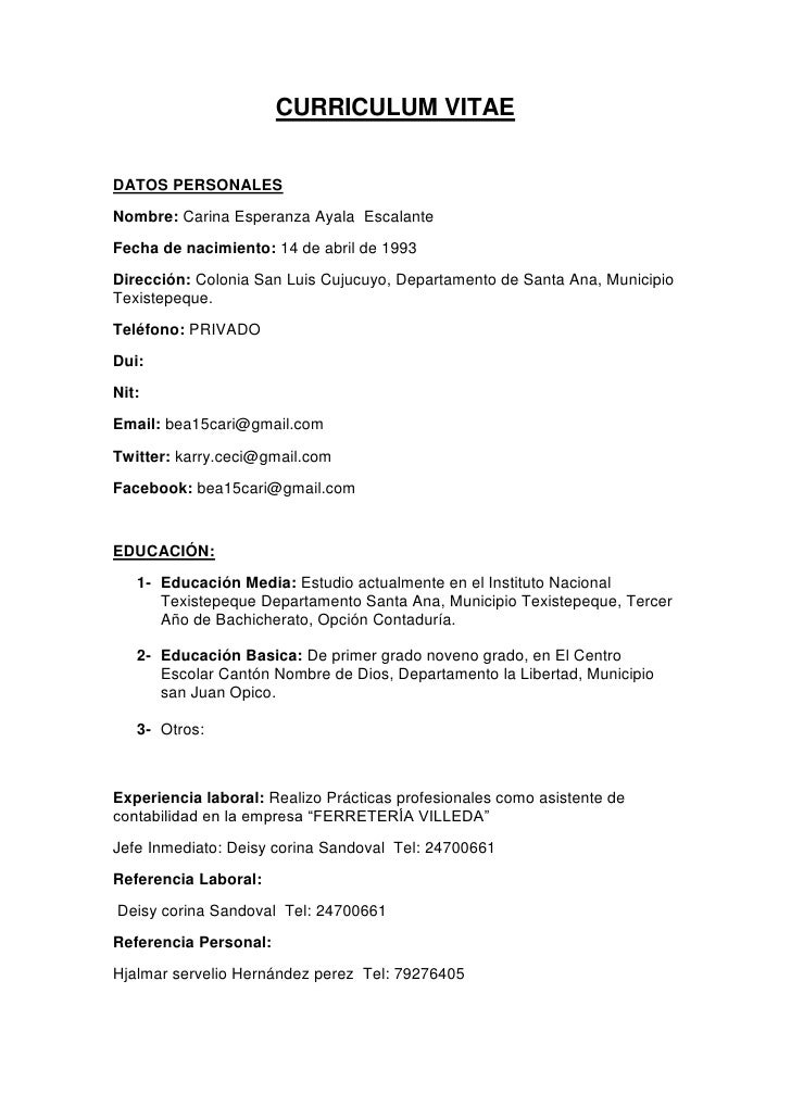 modelo de curriculum vitae simple peru 2012 - Modelo De Resume