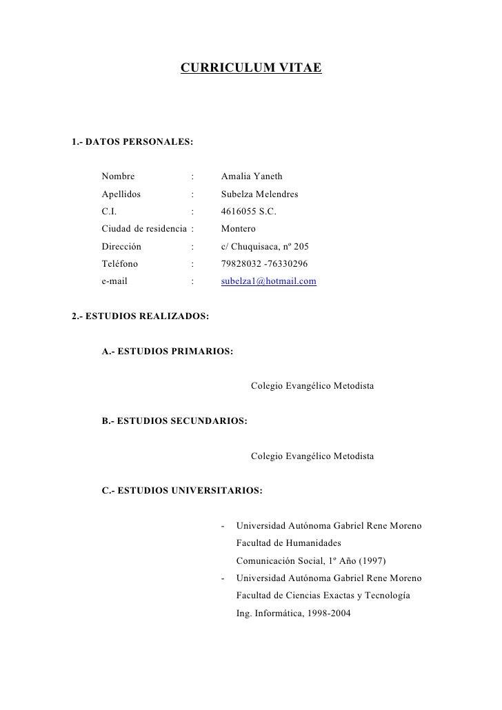 modelo de curriculum vitae bolivia