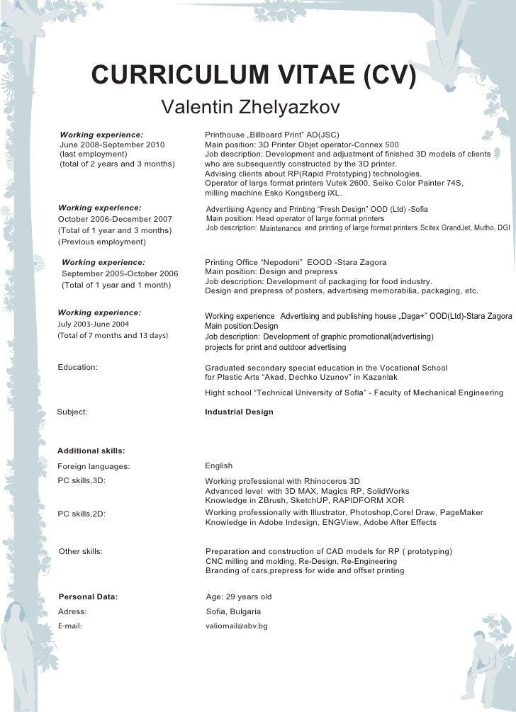 curriculum vitae and portfolio