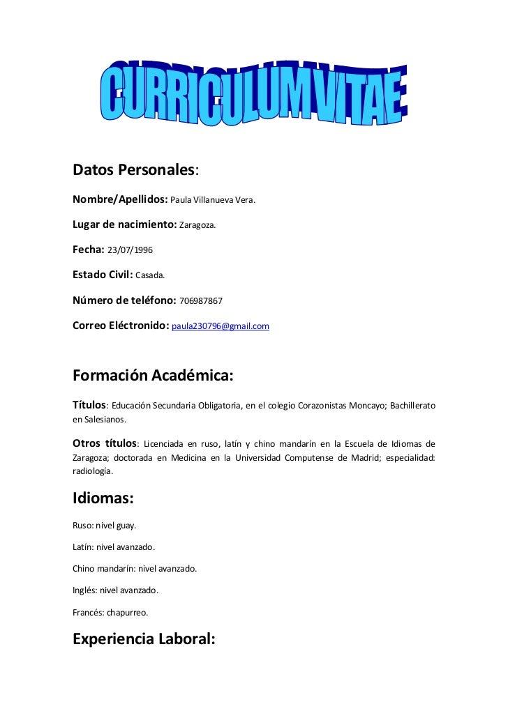 Curriculum Vitae Chileno Basico