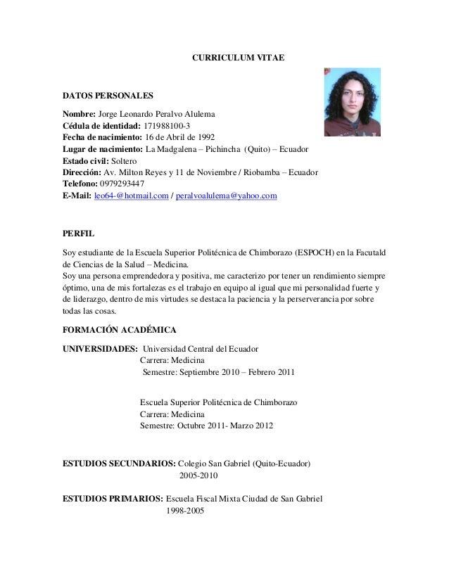 Curriculum Vitae: Curriculum Vitae De Estudiante