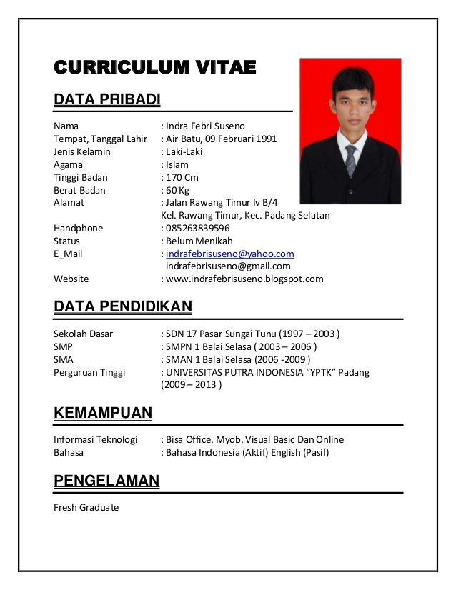 CV RESUME: resume cv contoh