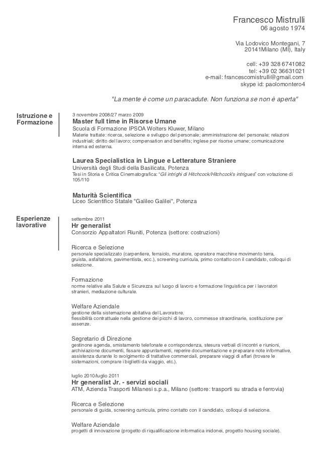 Cv resume in italian
