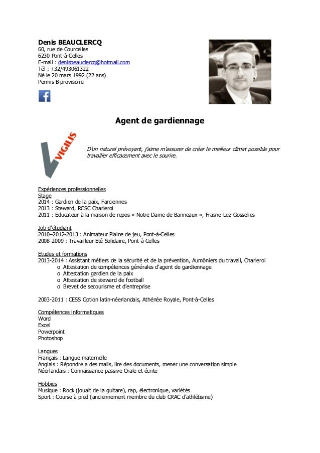 exemple cv gardiennage