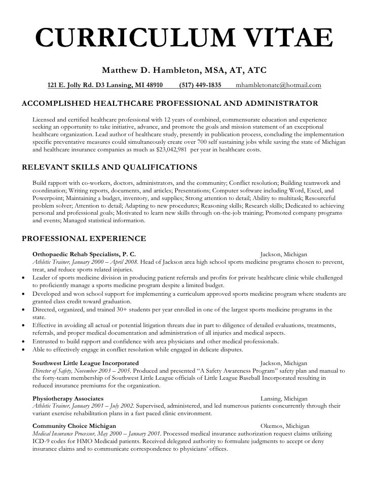 Sample physician assistant student resume