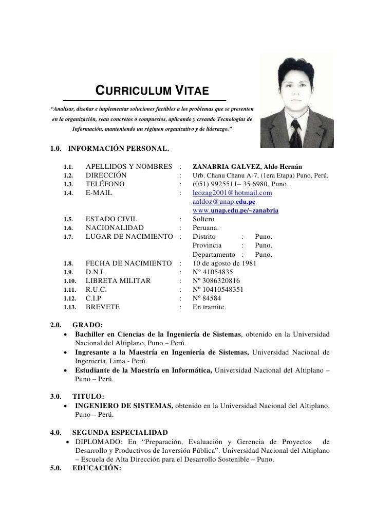 Modelo De Curriculum Vitae Lima Peru - Modelo De Curriculum Vitae