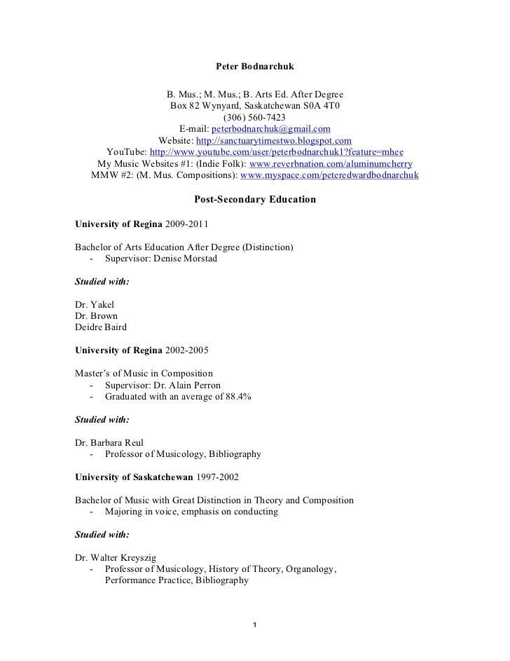 Peter Bodnarchuk                       B. Mus.; M. Mus.; B. Arts Ed. After Degree                        Box 82 Wynyard, S...