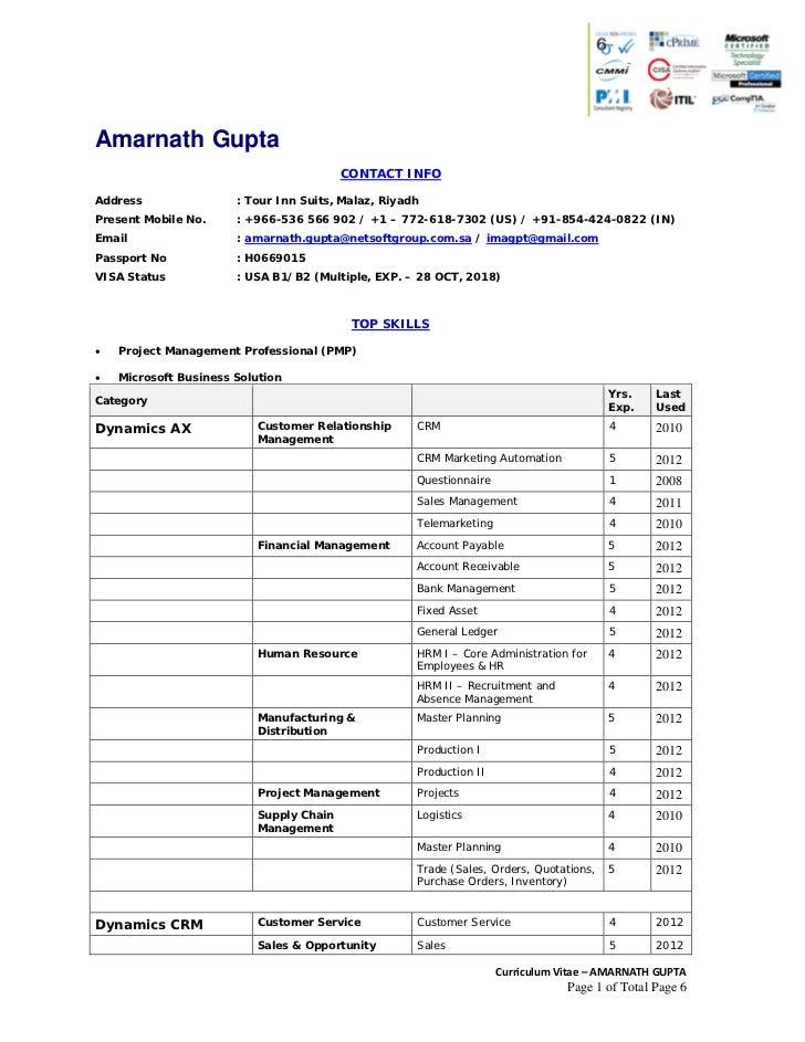 curriculum vitae amarnath gupta programme manager with 6 5