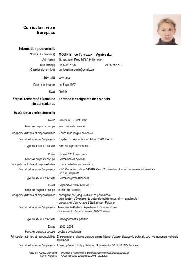 resume format  cv enseignant francais