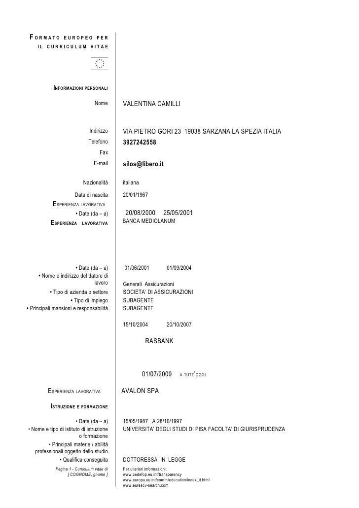 formato europeo per il curriculum vitae english version