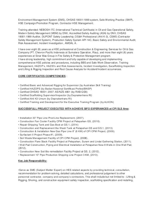 Safety officer oil and gas resume