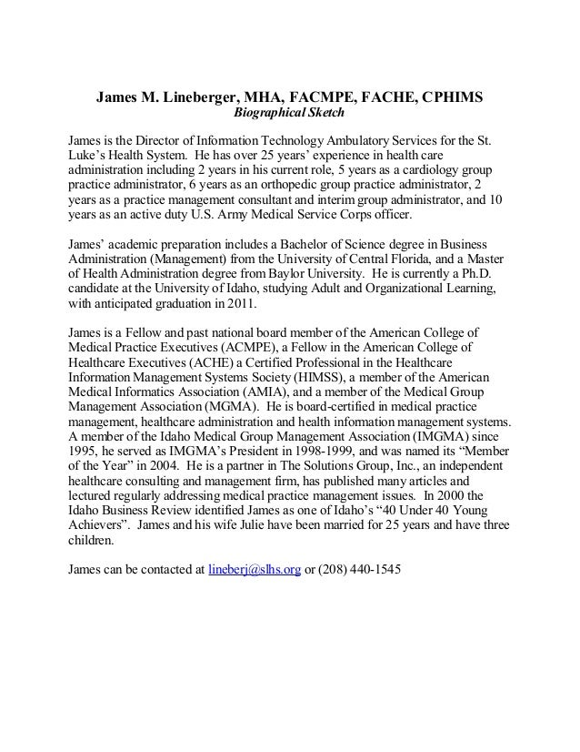 James M. Lineberger, MHA, FACMPE, FACHE, CPHIMS Biographical Sketch James is the Director of Information Technology Ambula...