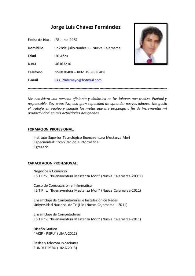Curriculum Vitae Jorge Chavez