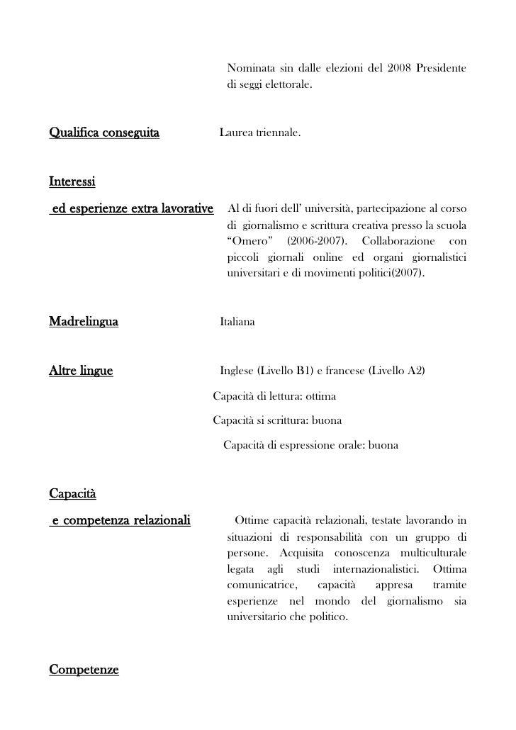 Curriculum Vitae Modello Europeo