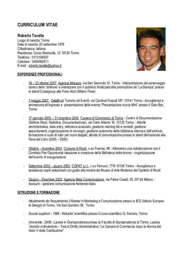 Curriculum Vitae Roberto Tavella
