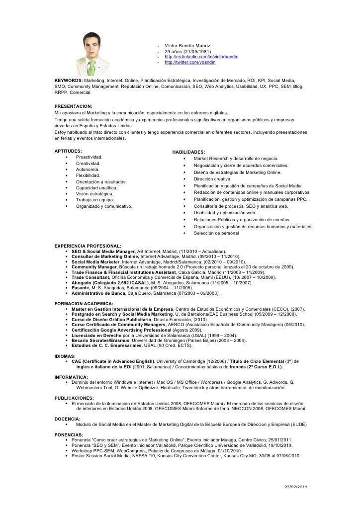 curriculum vitae seo  u0026 social media manager