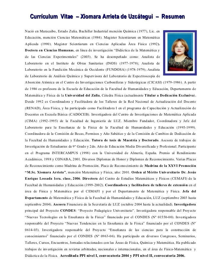 Curriculum xiomara resumen 2007