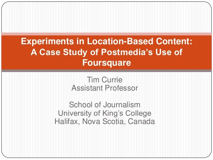 Postmedia's Use of Foursquare