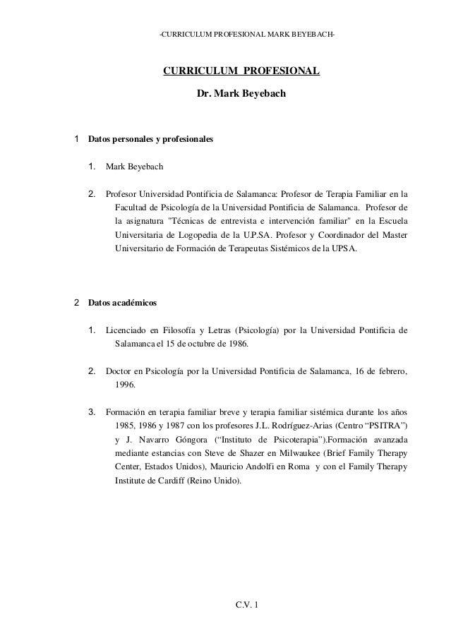 -CURRICULUM PROFESIONAL MARK BEYEBACH-                       CURRICULUM PROFESIONAL                                Dr. Mar...